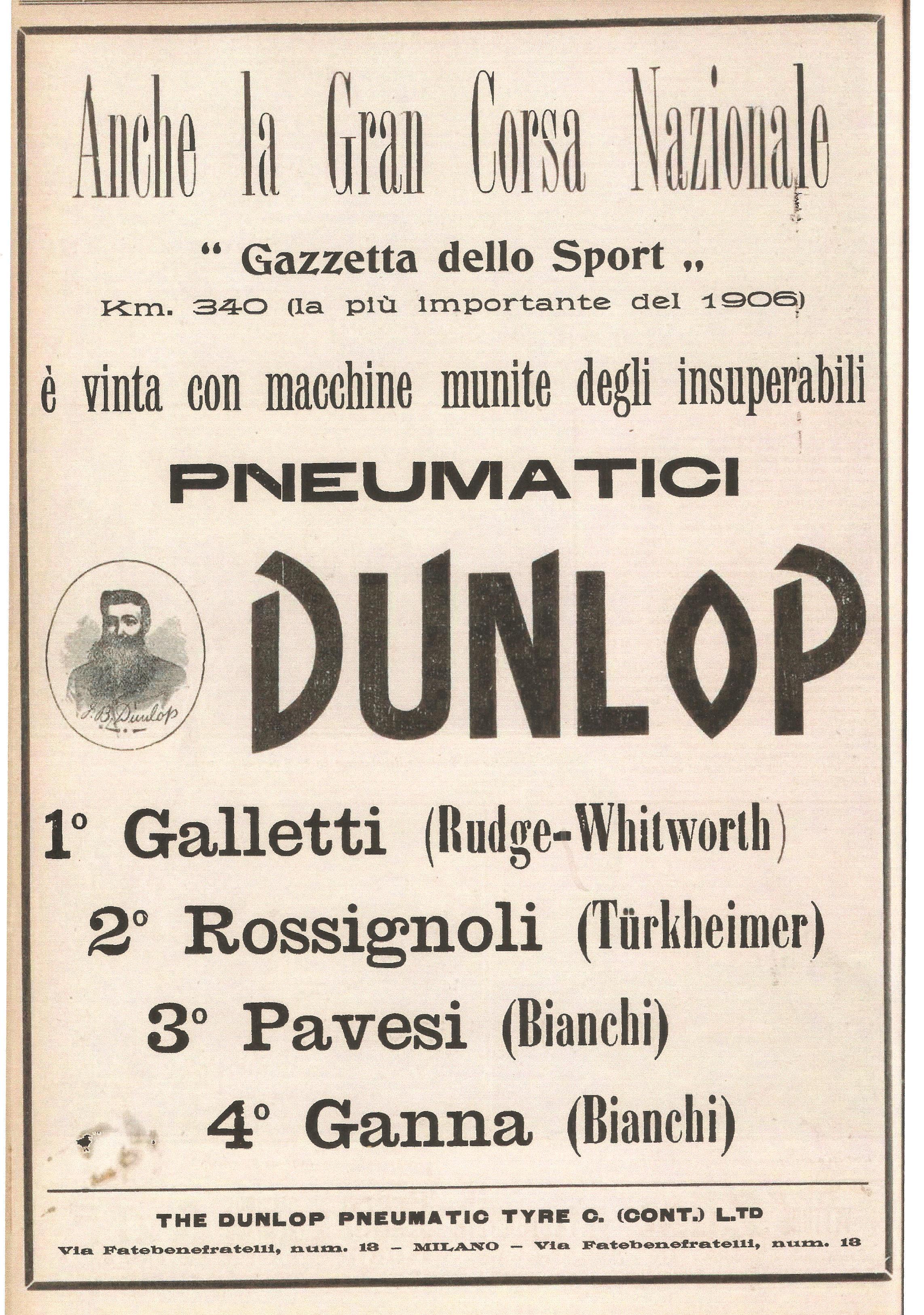 """1906 - Inserzione pubblicitaria degli pneumatici Dunlop, adottati da """"Galletti"""" nella Gran Corsa Nazionale."""