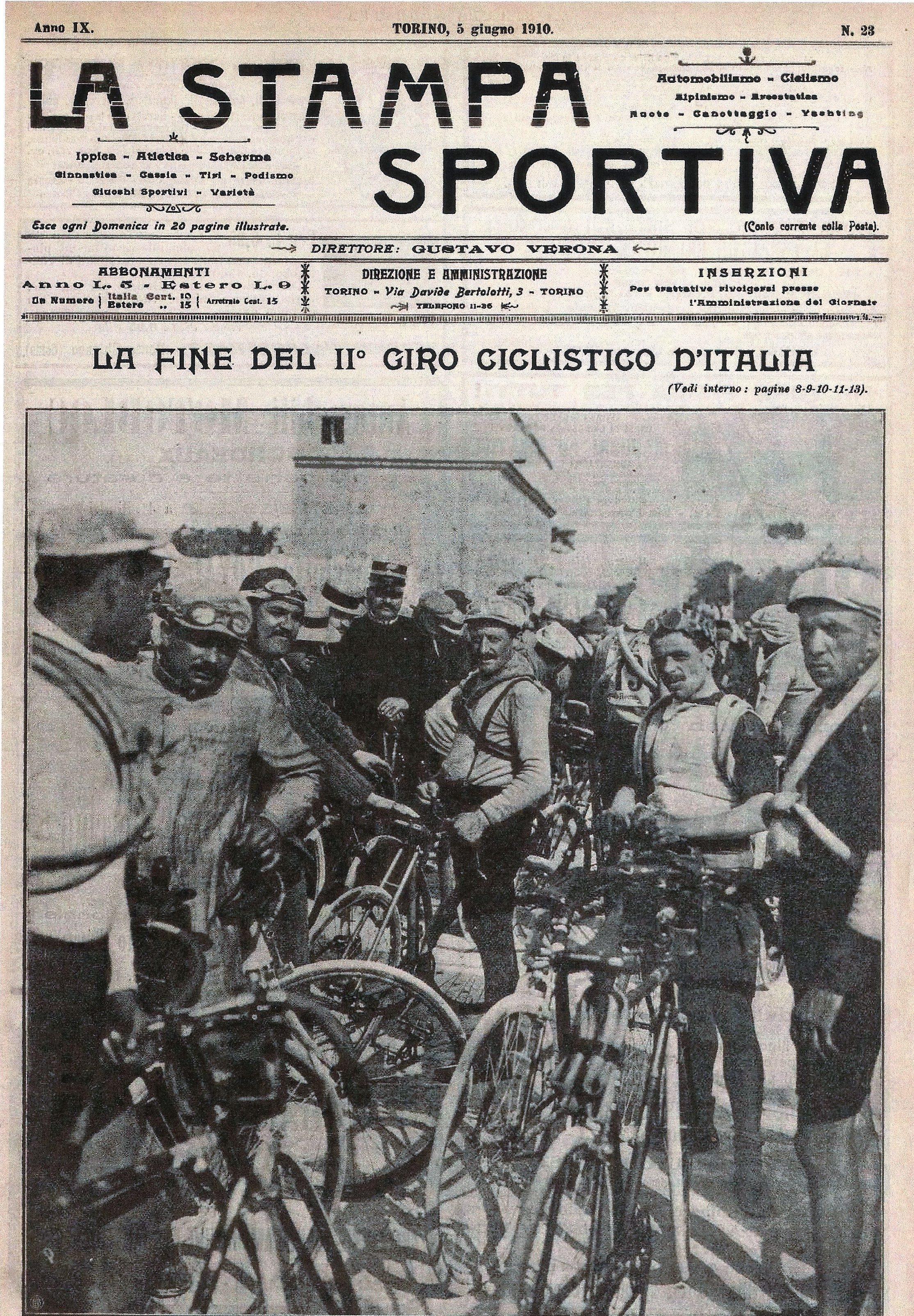 1910 - La copertina de La Stampa Sportiva dedicata al vincitore del Giro d'Italia.