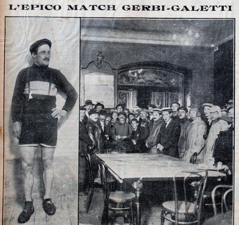 1912 - Carlo Galetti il giorno della sfida con Gerbi; a destra, la sala dell'Albergo del Sempione dove viene estratto a sorte l'ordine di partenza.