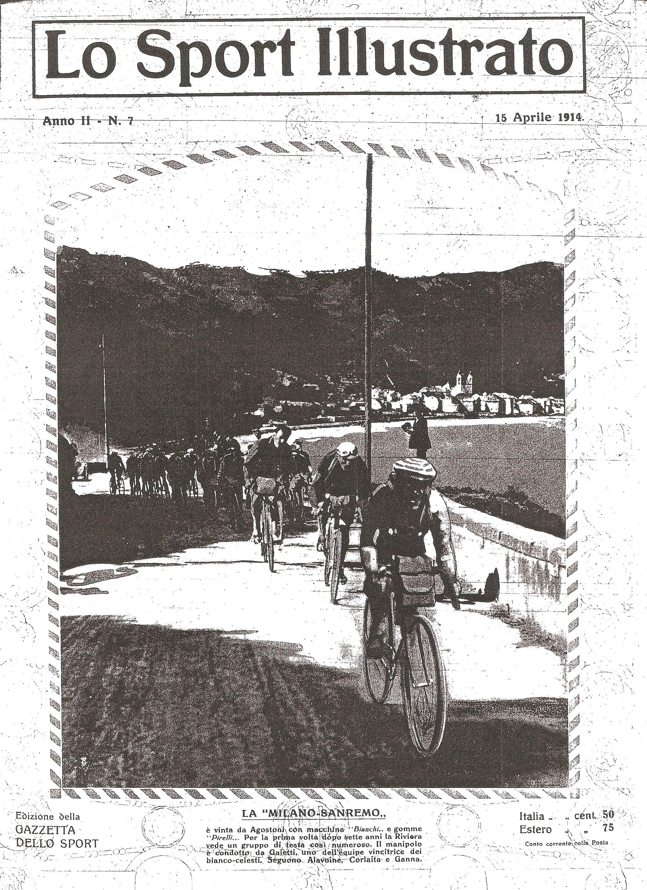 Carlo Galetti guida il gruppo di testa verso Sanremo - 1914