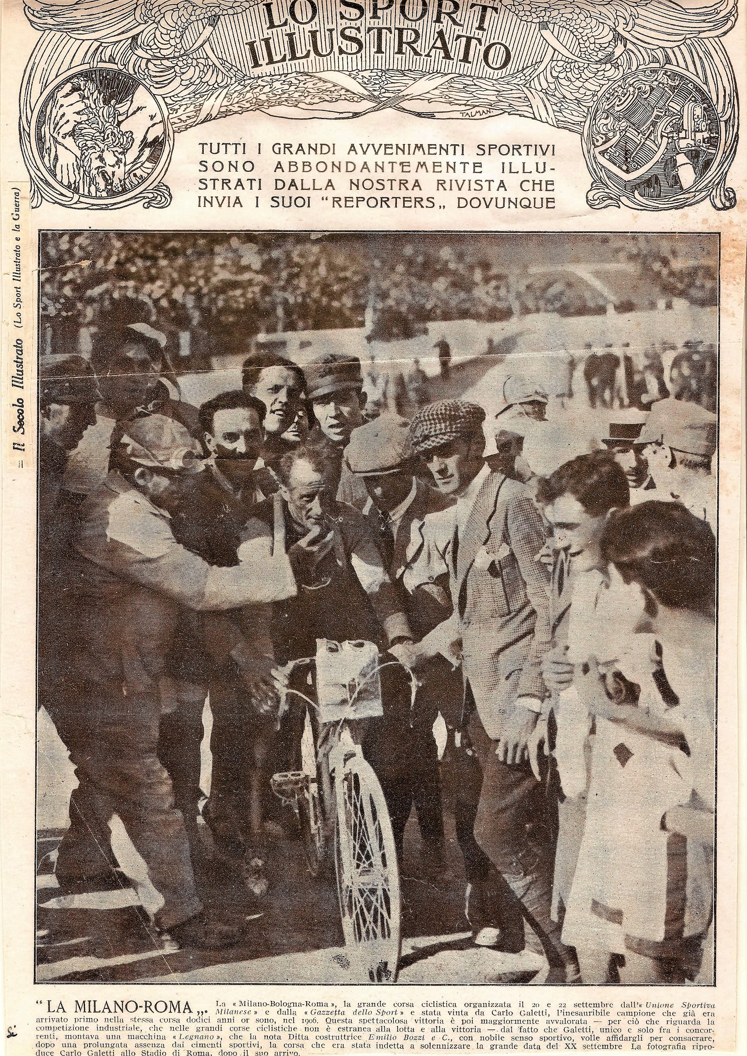 1918 - Carlo Galetti, vittorioso alla Milano-Roma, sulla copertina de Lo Sport Illustrato.