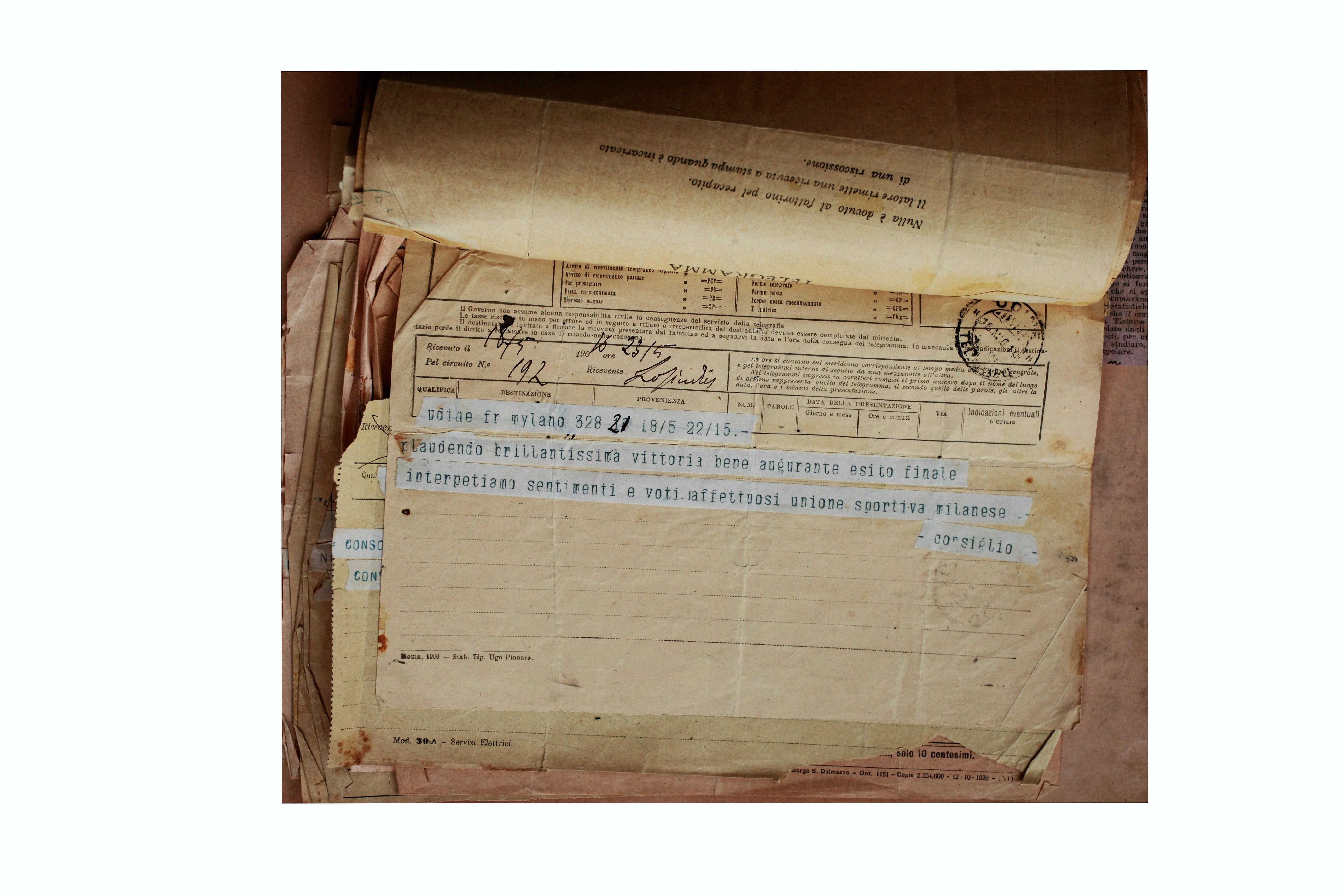 1910 - Telegramma del Consiglio USM a Carlo Galetti dopo la prima tappa del giro Milano - Udine